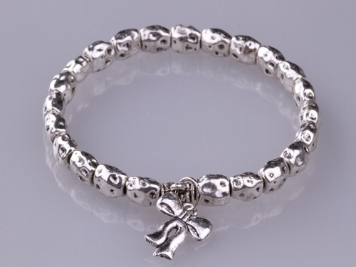 Charm Bow Tie Metal Silver Bead Stretch Bracelet